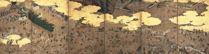 """江户时代开始的城修建(工程)的样子(""""城堡建造图屏风""""名古屋市博物馆仓库)"""