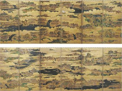 東海道図屏風右隻、左隻[靜岡縣指定有形文化財產](靜岡市藏)市內的6的投宿處和兩個危險處被畫