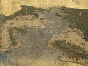 东海道图屏风(滨名湖和新居投宿处)。jpg
