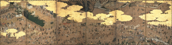 """江戶時代開始的城修建(工程)的樣子""""城堡建造圖屏風""""名古屋市博物館倉庫"""