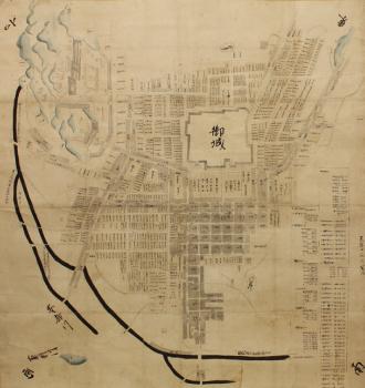 """被認定畫了家康在城時的駿府城鎮的繪圖""""駿府城鎮比較繪圖""""靜岡市藏"""